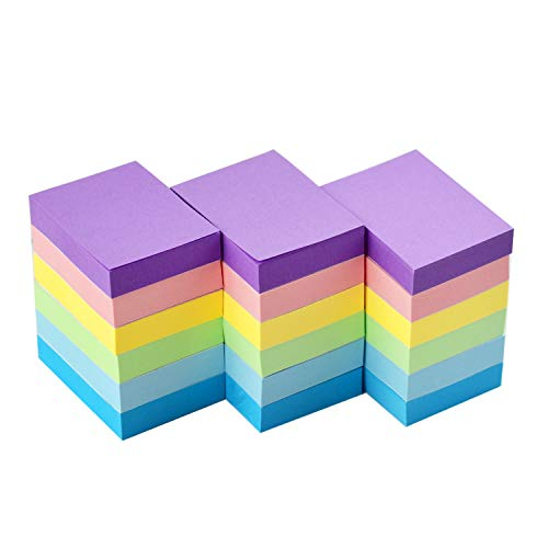 Sticky Notes 1.5x2 Self-Stick Notes 6 Pastel Color 18 Pads, 100 Sheets/Pad