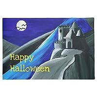"""玄関マット 屋外 室内 幽霊のハロウィーンの青い吸血鬼の城の玄関マット 长方形绒毯 ハロウィーン 24""""x36"""""""
