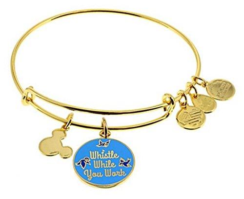 Disney Parks Alex and Ani Whistle While You Work Gold Tone Charm Bangle Bracelet