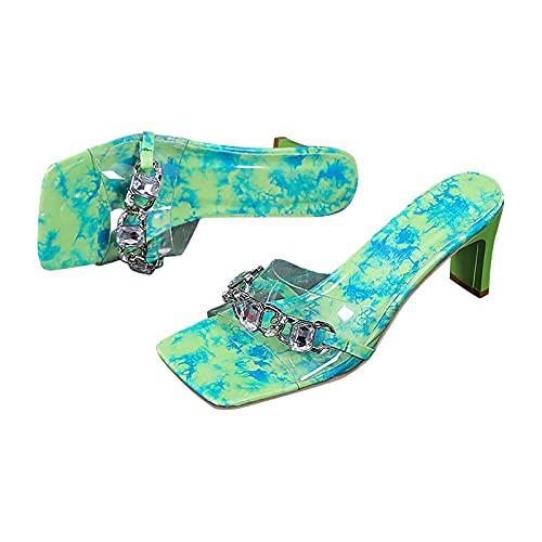Sandalias de tacón alto para mujer con punta abierta y punta cuadrada, para tacón alto, verde, 40 EU