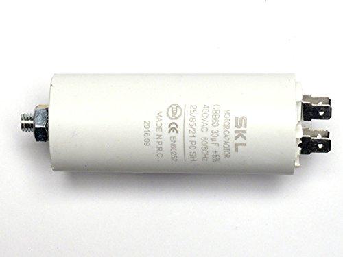 MKP - Kondensator 30uF, Motorkondensator 30,0µF 450VAC (CBB60), verwendbar als Betriebskondensator oder Anlaufkondensator (Anlasskondensator) aus selbstheilender metallisierter Polypropylenfolie im Kunststoffbecher, Anschluß über Flachsteckanschluß (Doppelanschluß FastOn250)