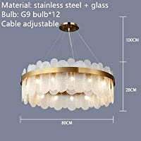 MYERZI 廊下照明 豪華 現代グレイクリアガラスのシャンデリアゴールドステンレススチールランプリビングルームレストラン照明器具G9 LEDコード調節可能 (Emitting Color : White light, Lampshade Color : White glass 80cm)