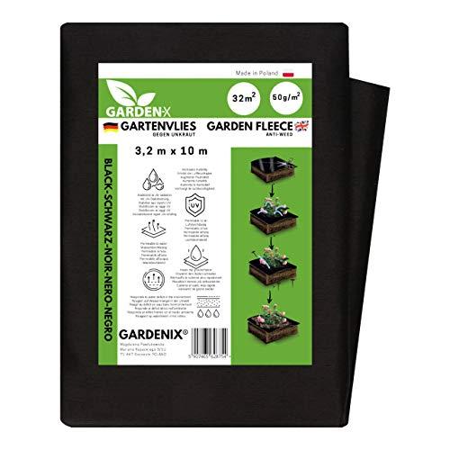 GARDENIX® 32 m² Anti Unkrautvlies 50g/m² ‒ Gartenvlies Hohe UV-Stabilisierung reißfest und wasserdurchlässig Schwarz (3,2m x 10m)