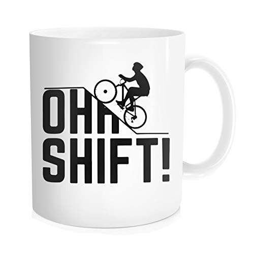 Hasdon-Hill Oh Shift Cycling Coffee Mug, Cool Triathlon Biking Rider Gift With Bicycle, Big Hill And Word Play For Biker, Bike Lover Or Cyclist Who Loves Riding Bikes Uphill In Trail! 11 OZ White