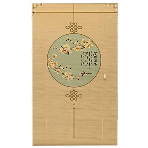 Lqdp Estores Enrollables Persianas enrollables de bambú de 60/80/100/120/140/160 cm de Ancho, Cortina de 80% de filtrado de luz montada en la Pared para casa de Familia/té, fácil de Instalar