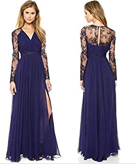 Blue V-nack Long Formal Wedding Gown Party Evening Cocktail Prom Beach Women Dress