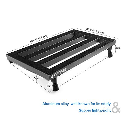Vangoa Guitar Pedal Board Aluminum Alloy 3.3lb. Lightweight Pedalboard 19.8' x 11.5' with Carry Bag, Guitar Pedal Cable