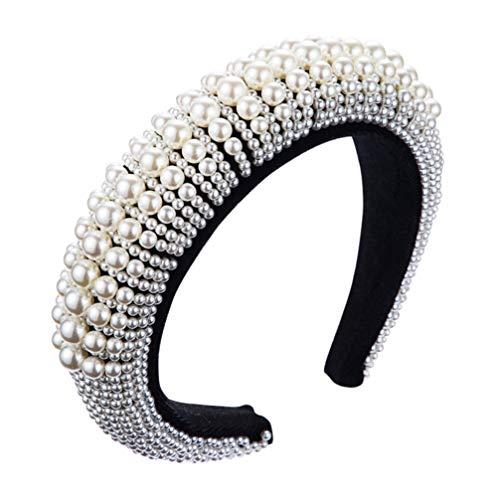 SOLUSTRE Bandeaux Larges Perles Bande de Cheveux Turban Bandeau Bandeau Vintage avec Fausse Perle Élastique Cerceaux de Cheveux Accessoires de Cheveux pour Femmes Et Filles