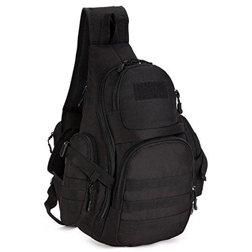 Selighting Slingbag Tactische Brusttasche Militärische Crossbody Bag wasserdichte Umhängetasche Molle Daypack für Trekking Wandern Camping Radfahren (Schwarz)