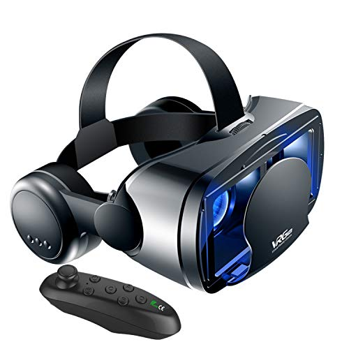 SDYAYFGE VR Brille Handy 5-7 Zoll VR Headset 3D Virtual Reality VR Handy Anti-Blaulicht Erleben Sie Spiele und 360 Grad Heimkino +Remote Control