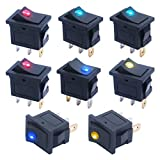 mxuteuk 8pcs 12V Red Yellow Green Blue Light Illuminated Snap-in Boat Rocker Switch Toggle Power SPST ON-Off 3 Pin AC 250V 6A 125V 10A, Use for Car Auto Boat 1 Years Warranty KCD1-102N-4C-MY
