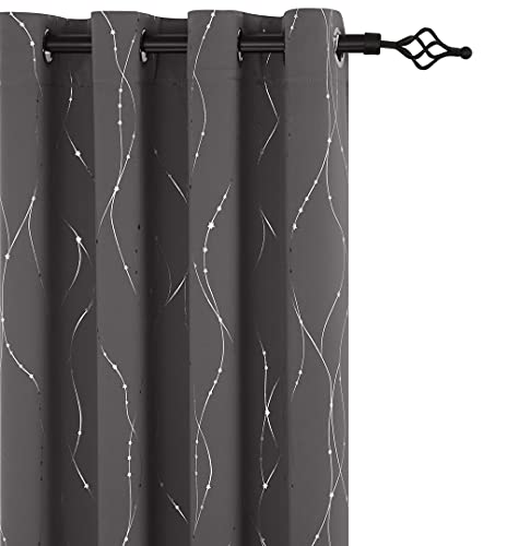 Mr.ing Blackout Curtains Foil Print Stars Grommet Top Thermal Insulated Window Gray Curtains for Living Room and Sliding Glass Door(52 x 45 Inch,...