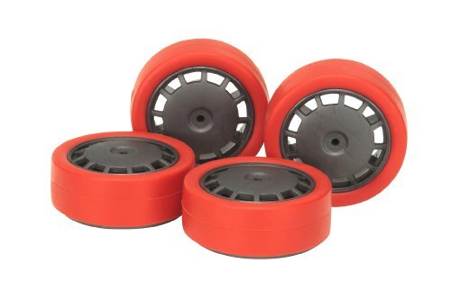 Red Low-Height Tire & Wheel (Dish) (Mini 4WD)