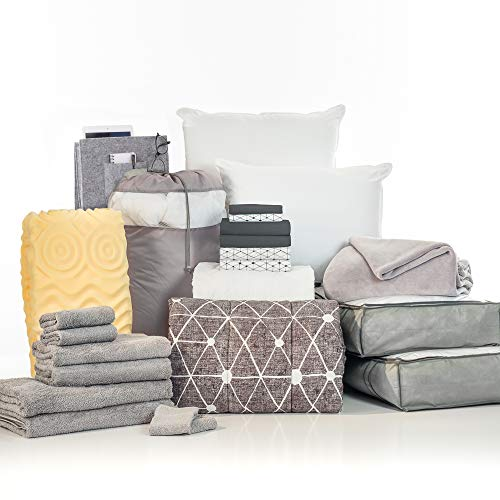 OCM College Dorm Room 24-Piece Complete Campus Pak | Twin XL | with Topper, Comforter, Sheets, Towels, Storage & More | Destin Black | Geometric in Soft Gray, Striped Sheets