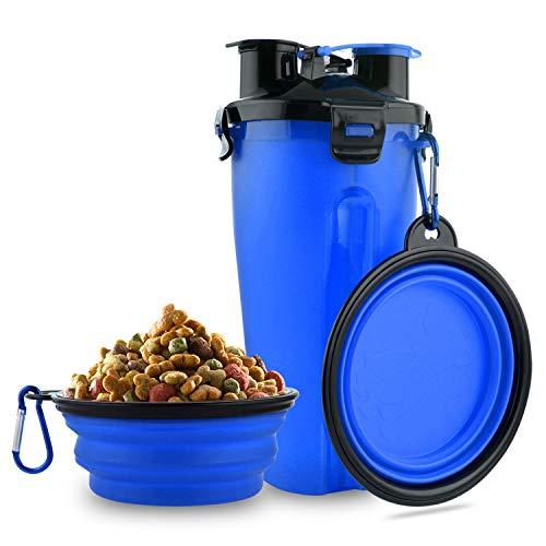MATT SAGA Botella de Agua para Perros Portatil Envase de Comida para Perros con 2 Plegable Tazones para Perros Gatos Mascotas Adecuado para...