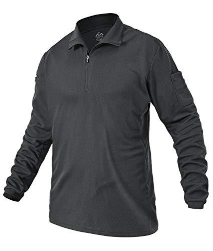YSENTO Herren Poloshirt Langarm Outdoor Schnelltrocknend Atmungsaktives Leicht Militär Jagd Taktisches T-Shirts mit Reißverschluss(Dunkelgrau,L)