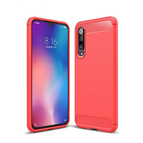 TianSY Funda Xiaomi Mi 9 SE, Ultra Delgado Resistente a los arañazos de Silicona Carcasa Protectora Anti-arañazos Antideslizante Funda, para Xiaomi Mi 9 SE Smartphone. Rojo