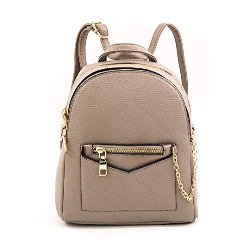 EMPERIA Kayli Faux Leather Mini Fashion 3 Way Carry Backpack Casual Lightweight Rucksack Daypack for women Stone