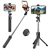 Selfie Stick, Extendable Selfie Stick Tripod with Detachable Wireless Remote and Tripod St...