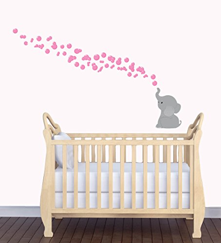 Nursery Elepahnt Wall Stickers, Animal Wall Stickers, Elephant Decal, Pink Grey Mini
