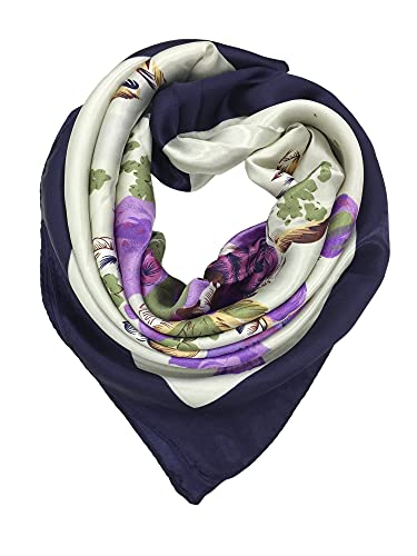 YOUR SMILE Polyester Scarf Women's Fashion Pattern Large Square Satin Headscarf 35''x35'' (Purple)