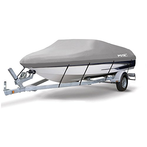 MSC Heavy Duty 600D Marine Grade Polyester Canvas Trailerable Waterproof Boat Cover,Fits V-Hull,Tri-Hull