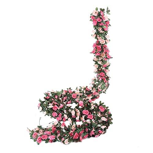 Yzhmm Plantas Artificiales 8 Piezas De Artificiales De Vid De Rosas Falsas Que Cuelgan Decoración De Banquetes De Boda Familiar De Vid De Rosas Flores Artificiales Hierba