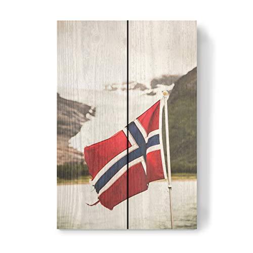 artboxONE Holzbild 30x20 cm Reise Let's go Norway von Künstler Sebastian Worm