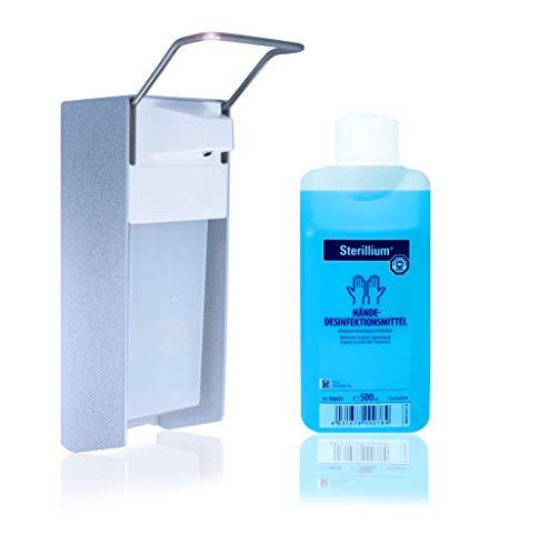 Horn Medical Desinfektionsspender - Wandspender Starterset aus Aluminium mit Händedesinfektionsmittel Sterillium (1 x 500 ml)