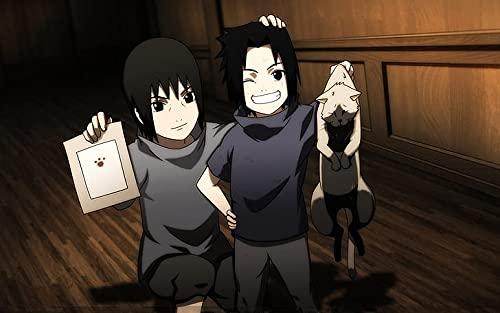 Póster de Uchiha Sasuke Naruto Shippuden Uchiha Itachi Anime Boys Paws Brothers Children Poster Print 30,5 x 45,7 cm (Multicolor) W-5310