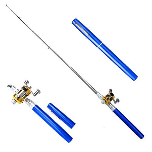 RIUDA Fashion 38inch Mini Portable Pocket Aluminum Alloy Fishing Rod Pen (Blue)