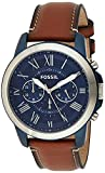 Fossil Men's Grant Quartz Stainless Steel and Leather Chronograph...