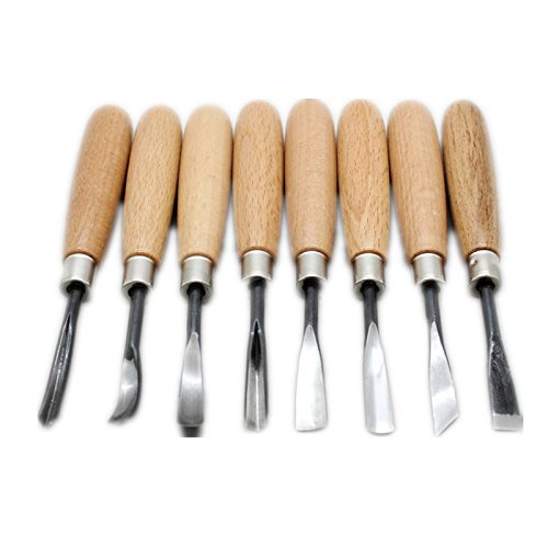 Juego de 8 herramientas para tallar madera, para manualidades, carpintería,...
