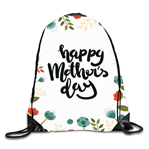 Lawenp Happy Mothers Day Mochila con cordón Mochila Impermeable Gymsack Daypack para Hombres y Mujeres