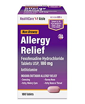 HealthCareAisle Fexofenadine Hydrochloride Tablets - 24 Hour Allergy Relief 180 mg 180 Count