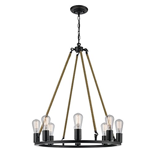 Novogratz Myrcella 8-Light Twine Wrapped Round Vintage Chandelier, Oil Rubbed Bronze Finish