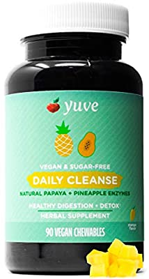 Yuve All Natural Papaya Chewable Digestive Enzymes - Sugar-Free Tablets - Boosts Digestive System - Constipation & Bloating Aid, Detox, Leaky Gut Repair Plus Gas Relief - Non-GMO - Mango Flavor - 90ct