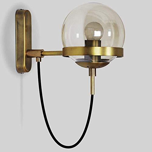 Zeyujie Pasado de moda esférico Industrial Lámpara de pared LED, cristal de Rusia bola lámpara de pared, moderno del metal cepillado final del oro de estilo simple pared lámpara de pared E27, Usado en