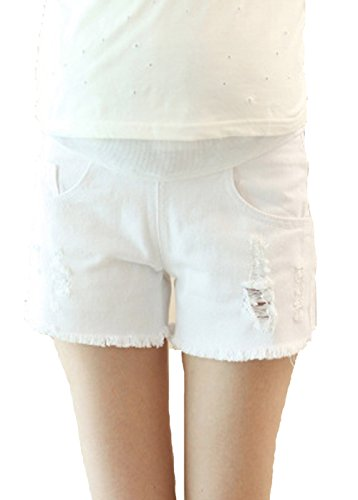 Happyyip Womens Summer Casual Blue Secret Fit Belly Roll Hem Maternity Shorts (Asian Tag M, White)