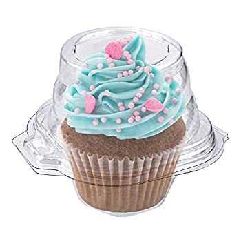Stock Your Home Individual Plastic Cupcake Containers Disposable with Connected Airtight Dome Lid  50 Count  Clear Single Cupcake Container BPA Free