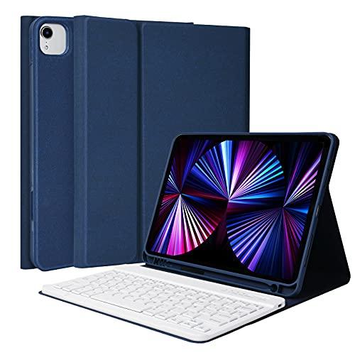 """Funda con Teclado para iPad Pro 11"""" 2021/2020/2018, Cubierta con Bluetooth Inalámbrico Desmontable Español Ñ Teclado para iPad Air 4 10.9 2020, iPad 11 Funda con Soporte para Lápiz (Azul Oscuro)"""