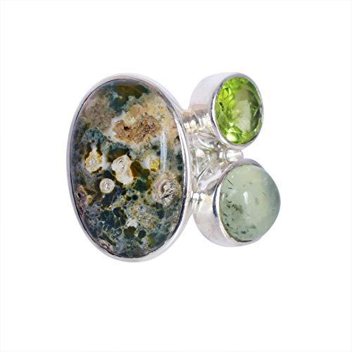 Ravishing Impressions Jewellery Mujer Unisex Plata fina 925 plata de ley Oval & Round-Shape Green Jaspe oceánico, perdot, prehnita