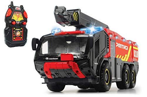 Dickie Toys RC Flughafenfeuerwehrauto, mit 4-Kanal Fernsteuerung, Panther 6x6, Rosenbauer, ferngesteuerte Feuerwehr, Feuerwehrauto, Arm ausziehbar, Licht & Sound, Wasserspritzfunktion, 56 cm groß, rot