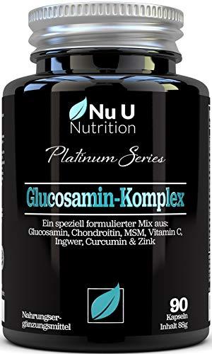 Glucosamin & Chondroitin Hochdosiert, MSM, Vitamin C, Ingwer, Kurkuma und Zink | 90 Glucosaminsulfat-Kapseln | Bestes Premium Ergänzungsmittel für die Osteo-Gelenkpflege