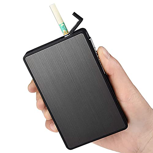 HHYHOME Caja De Cigarrillos 2 En 1,Caja De Cigarrillos con Encendedor,Portátil USB,Expulsa Automáticamente Los Cigarrillos,para 16 Cigarrillos Esbeltos,Mujeres,Negro