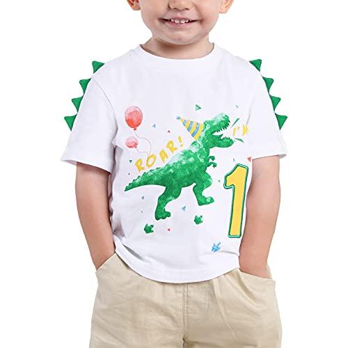 Bebé Niño 1er Camiseta Cumpleaños Dinosaurio 1 año Cumpleaño Manga Corta Tops (Blanco, 80)