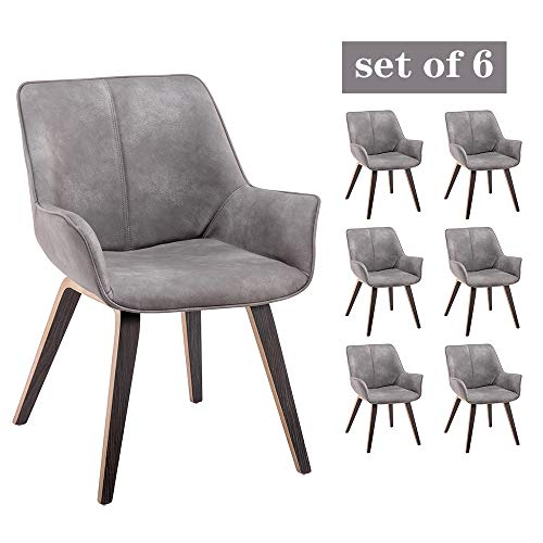 YEEFY Gray Leather Contemporary Living Room Chairs with arms Upholstered Accent Chairs Set of 6 (Gray)