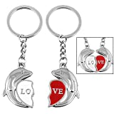 New 2 PCS Cute Dolphin Design Combo Couple Love Key Chain with Heart Pendant Keychain