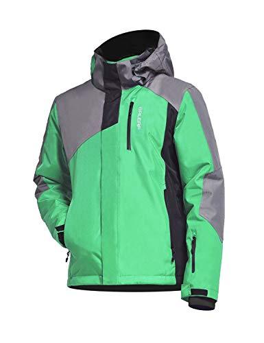 BALEAF Boy's Ski Jacket Waterproof Breathable Kids Fleece Lined Windproof Hooded Snowboard Coat Green Size L