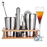 Edelstahl Cocktail Zubehör Mix Set, 11-teiliges Cocktail Set Shaker mit Ständer, bar zubehör cocktailshaker Set Mit Muddler, Flaschenöffner, Boston Shaker, Shaker Cocktail Set (Silver)